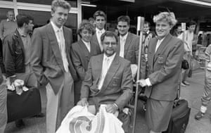 The Irish Olympic swimming team at Dublin Airport in 1988 after returning from the Olympic Games in Seoul. George Gibney is pictured on the trolley. (L-R behind) Stephen Cullen, Michelle Smith, Gary O'Toole, Richard Gheel and Aileen Convery.