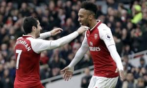 Henrikh Mkhitaryan celebrates with Pierre-Emerick Aubameyang after scoring Arsenal's third goal against Watford.