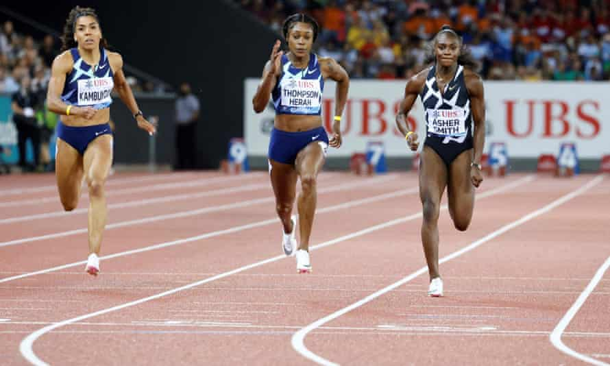 Dina Asher-Smith runs a season-best time to take silver behind the double Olympic champion Elaine Thompson-Herah.