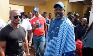 George Weah at the election rally at the Samuel Kanyon Doe Sports Complex in Monrovia, Liberia