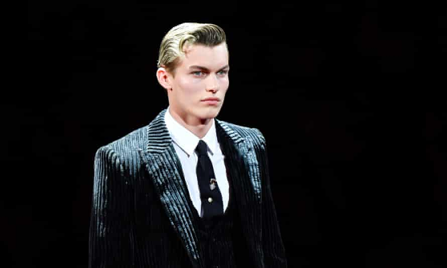 Male model on the runway at the Dolce & Gabbana's show during Milan Menswear Fashion Week AW19/20.