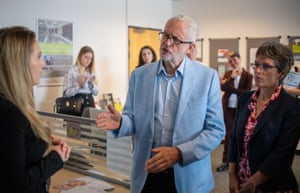 Jeremy Corbyn meets business leaders at the Business and Technology Centre, Stevenage, to warn against impact of a no-deal Brexit.