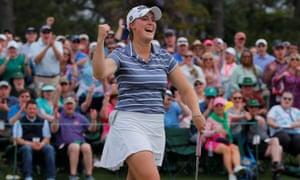 Jennifer Kupcho celebrates finishing with a birdie to take the inaugural Augusta National Women's Amateur championship.