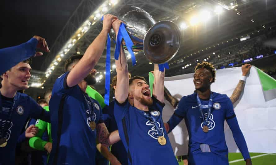 Jorginho lifts the European Cup after Chelsea's Champions League final victory over Manchester City in May. There is talk of him winning the Ballon d'Or if Italy triumph on Sunday.