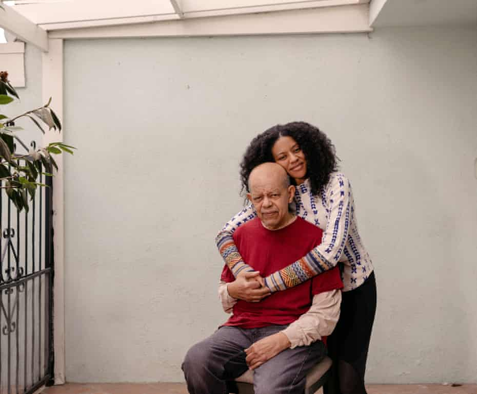 Portrait of Donald Franklin, 81, and his daughter Kelly Franklin, 39. Kellye, Donald's primary care taker, has an AI surveillance system installed in her house to help monitor her dad who has dementia.
