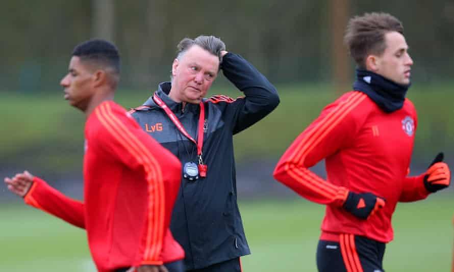 Louis van Gaal at Manchester United training