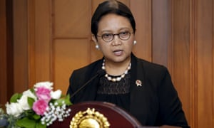 Indonesia's Foreign Minister Retno Marsudi speaks to reporters in Jakarta