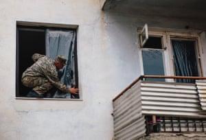 Man repairs windows
