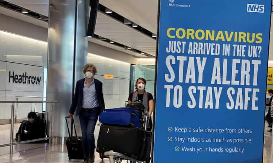 Passengers arriving at Heathrow airport.