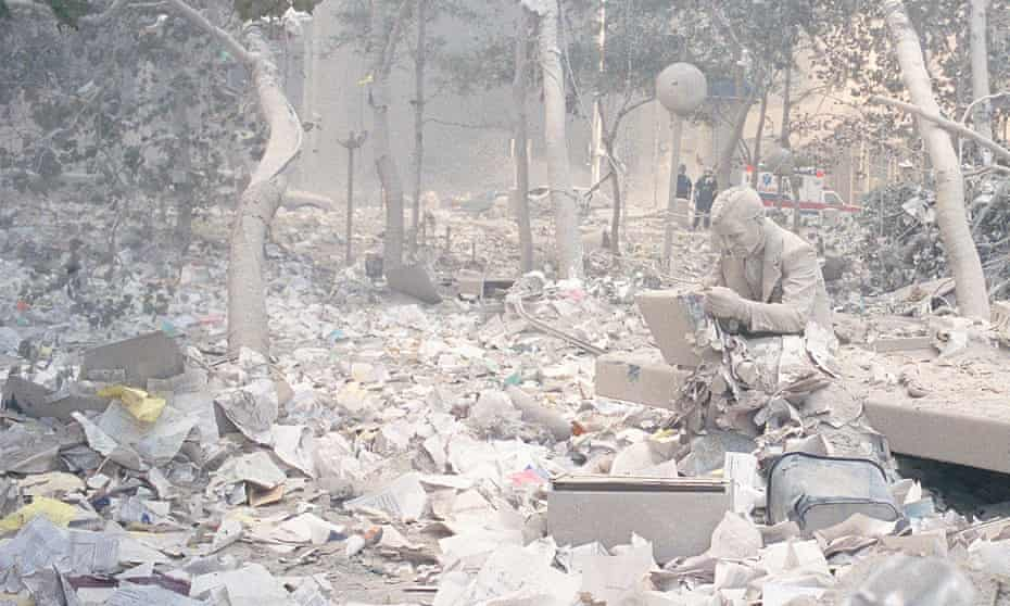 Wreckage of a city … a detail from Jeff Mermelstein's shot of a statue in New York on the day of the 9/11 attacks.