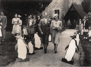 Allen and Lettice Lane's wedding day, with their Penguin guard-of-honour.