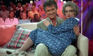 Caroline Aherne with Dallas star Patrick Duffy on The Mrs Merton Show.
