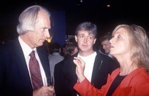 Martin with Paul McCartney and Linda McCartney in London in 1988.