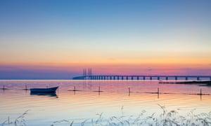 Øresund Bridge at sunset, Denmark-Sweden.