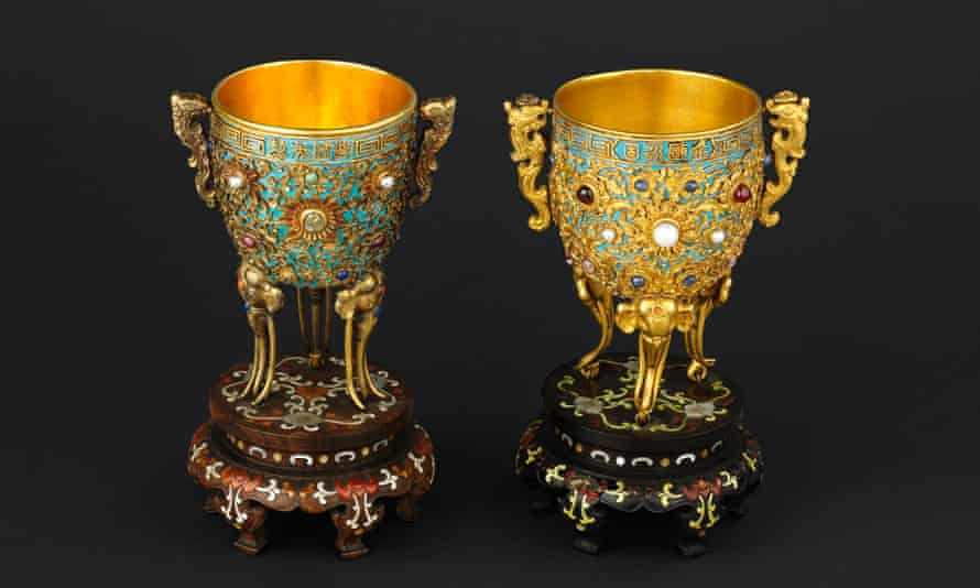Ornate Chinese cups that were used by the Quianlong emperor in the 18th century.