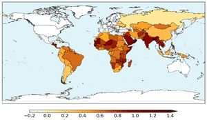 Hunger and Climate Vulnerability Index for 2°C global warming.