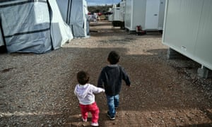 Children at a refugee camp near Athens