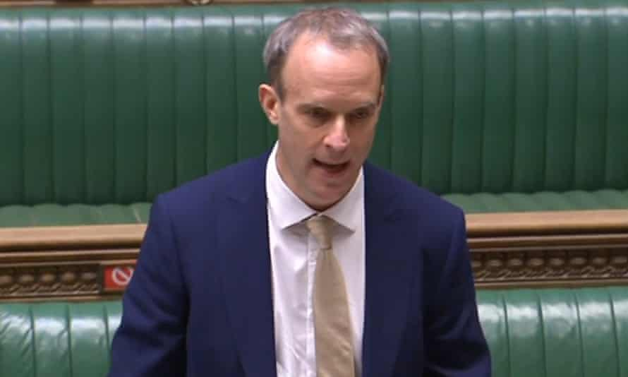 Dominic Raab makes a statement on trade measures over China's human rights violations against Uighur people.