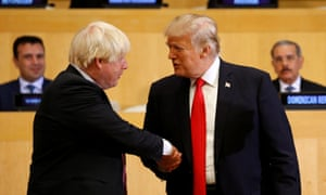 U.S. President Donald Trump shakes hands with British Foreign Secretary Boris Johnson as they take part in a session on reforming the United Nations at U.N. Headquarters in New YorkU.S. President Donald Trump shakes hands with British Foreign Secretary Boris Johnson (L) as they take part in a session on reforming the United Nations at U.N. Headquarters in New York, U.S., September 18, 2017. REUTERS/Kevin Lamarque