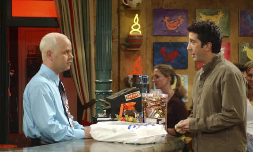 James Michael Tyler as Gunther and David Schwimmer as Ross Geller.