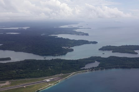 Aerial view of the Manus Island airport, the former refugee detention centre and the town of Lorengau.