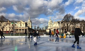 The Greenwich park rink with views to Canary Wharf, London, UK