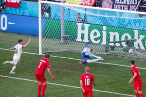 Thorgan Hazard of Belgium scores past Kasper Schmeichel.
