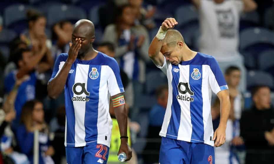 Porto's Danilo Pereira and Pepe react after their surprise loss to Krasnodar.