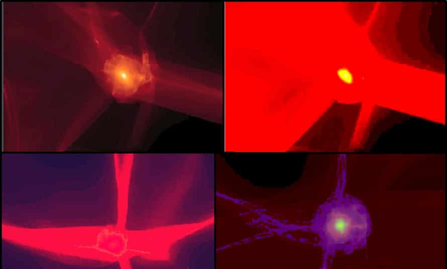 Images from the Sonification of Dark Matter and Embodied iSound Sonification of Dark Matter.