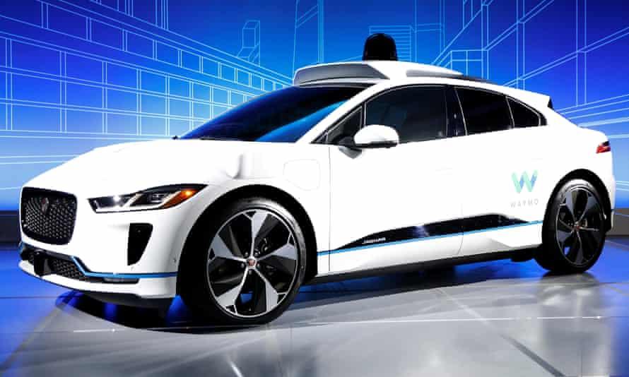 A Jaguar I-Pace self-driving car