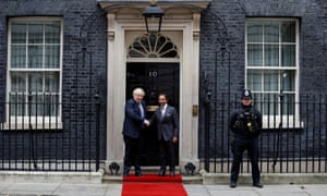 Boris Johnson welcoming Brunei's Sultan Hassanal Bolkiah to Downing Street today.