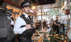 Policeman in restaurant