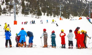 Families skiing at the Port Aine resort, Spanish Pyrenees.