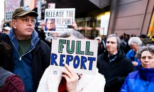 At a protest in New York, people call for the full release of Robert Mueller's report.
