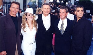 Arnold Schwarzenegger, Alicia Silverstone, Joel Schumacher, Chris O'Donnell and George Clooney attend the Batman & Robin premiere at Mann Village Theatre in Westwood, California on 12 June 1997