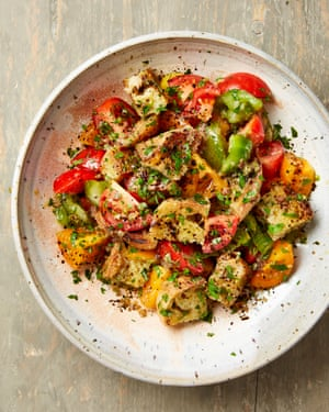 Yotam Ottolenghi's tomato and bread salad with anchovies and capers