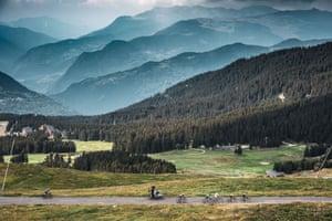 Riders on Stage 17 between Grenoble and Meribel
