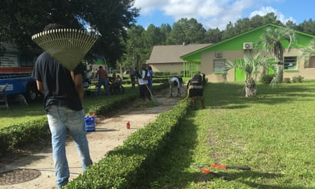 Volunteers work on transforming the former Gainesville Correctional Institute into Grace Marketplace.
