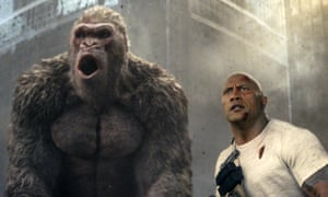 Running amok … Dwayne Johnson, right, in Rampage.