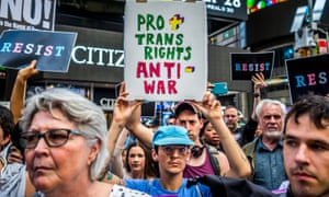 Thousands of New Yorkers took the streets earlier this month in opposition to a series of tweets by Donald Trump that proposed banning transgender people from military service.