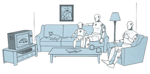 Illustration of crash test dummy family watching TV together