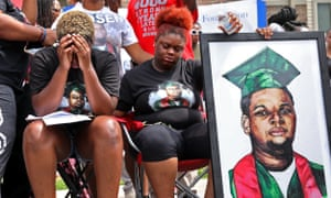 Trinetta Brown, left, 19, and Triniya Brown at memorial service for their brother Michael Brown in Ferguson, Missouri, in 2018.