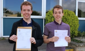 Beren and Chester Wilkinson from Gosford Hill School, a state secondary in Oxfordshire, who both got As and A*s in their A-levels