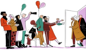 Illustration of a family holding out a baby to new godparents