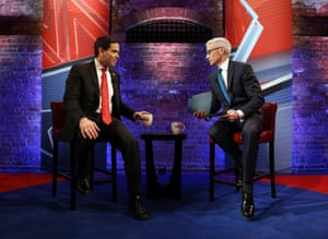 Anderson Cooper and Marco Rubio at last night's town hall.