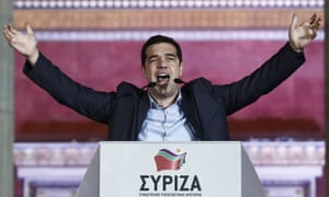In this photograph from 25 January 2015, Tsipras speaks to supporters outside Athens University.