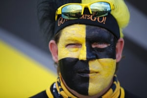 A Hamilton Tiger-Cats fan poses before a Canadian Football League match against the Toronto Argonauts in Hamilton, Canada