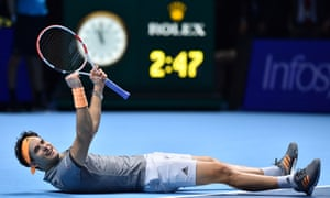 Dominic Thiem celebrates his victory over Novak Djokovic.