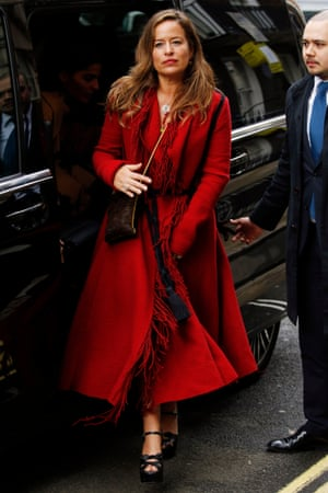 Jade Jagger arrives at Spencer House for the wedding reception of Jerry Hall and Rupert Murdoch.