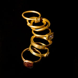 A collection of Fairtrade gold rings designed and made by Tony Power in his studio behind his shop